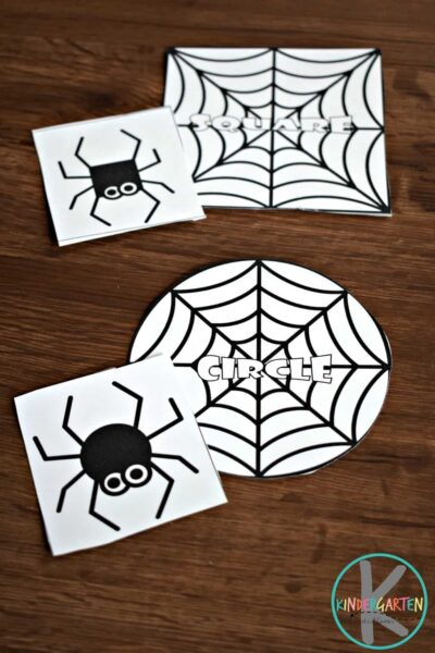 fun, low prep spider shape math game for kinders