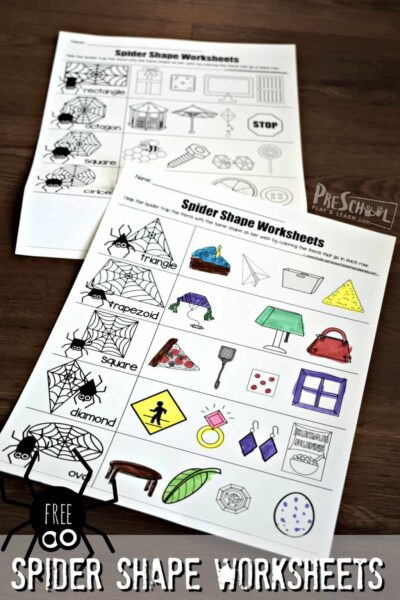 Spider shape worksheets
