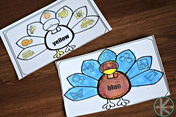 free thanksgiving worksheets for helping toddler, preschool and kindergarten age kids learn color recognition