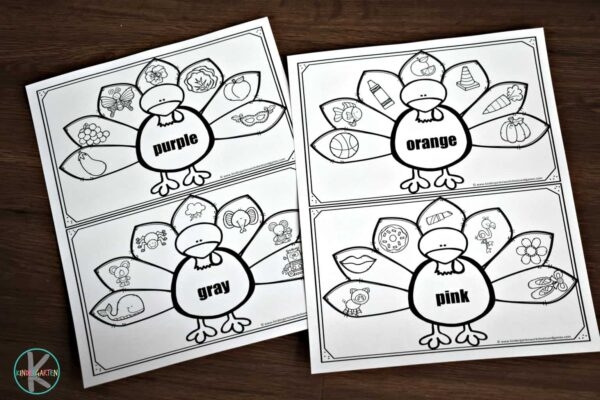super cute free turkey coloring pages are a NO PREP activity for kindergartners
