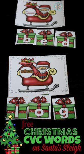 Kindergartners will have fun working on reading skills this December with this super cute, FREE printable Christmas CVC Words on Santa's Sleigh. This Christmas CVC activity is perfect for pre-k, kindergarten, and first grade students to sneak in some fun, hands-on Christmas learning. Simply download Christmas printables to plan you Kindergarten Christmas lesson plan to keep kids engaged and make learning fun this holiday season!
