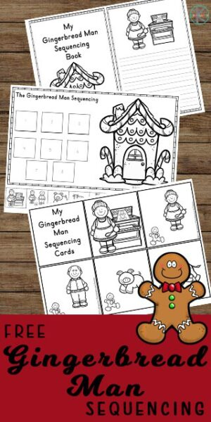 FREE Gingerbread Man Sequencing Activities -free printable worksheets to help kindergarten age kids practice sequencing with a gingerbread theme activity perfect for December #sequencing #gingerbreadman #kindergarten