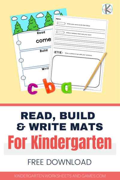 FREE Kindergarten Spelling Activity for December - super cute, editable read, build & write mats for kindergartners to practice spelling words with a fun Christmas or Winter Theme #kindergarten #spellingwords #chrsitmas