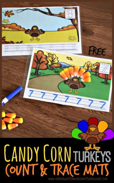 FREE Candy Corn Turkeys Count & Trace Mats - these free printable fall counting mats are such a fun way for preschool and kindergarten age kids to practice counting to 10. Use with candy corn, playdough, or feathers. Print in black and white OR color with dry erase marker. #turkeyactivities #candycornactivity #preschool #kindergarten #countingforkids