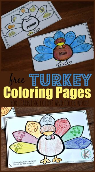 Help kids learn to identifying colors with these super cute, free printable Turkey Coloring Pages. These thanksgiving printables help toddler, preschool, pre k, and kindergarten age children work on color recognition, learning their colors, and learning new vocabulary. The colors included in this pack include: yellow, pink, orange, gray, red, green, blue, and purple.