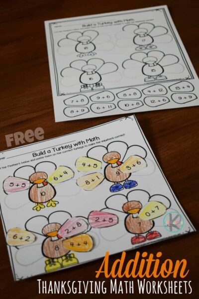 FREE Addition Thanksgiving Math Worksheets - super cute, NO PREP math activity for kindergarten age kids to practice addition within 10. #thanksgiving #addition #kindergarten