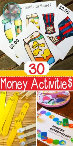 30 Kindergarten Money Activities - so many fun money games for kids, free money worksheets, and more to help kids learn about american coins and money value #kindergartenmath #moneyactiities #moneygames