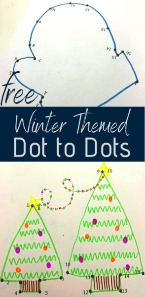 FREE Winter Dot to Dot - these free printable worksheets are a fun way for toddler, preschool and kindergarten age kids to practice counting while having fun! #dottodot #counting #prek