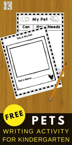 Writing About Pets: Free Printable Book For Kindergarten Students. Super cute, fun and free creative writing printable for kindergarteners. Fun writing prompts for kids #kindergarten #creativewriting #writingprompts
