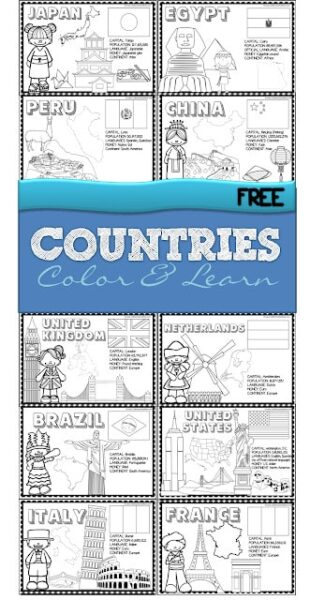 Countries of the World Coloring Book