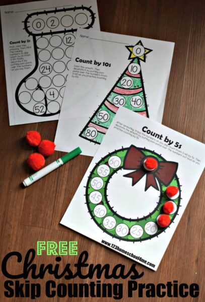 Help kids practice skip counting by 2s, 5s, 10s, and more with these Christmas math worksheets for kindergarten, first grade, 2nd grade, and more! These free Chrsitmas worskheets are perfect for your December homeschool #christmasworksheets #christmasmath #kindergarten