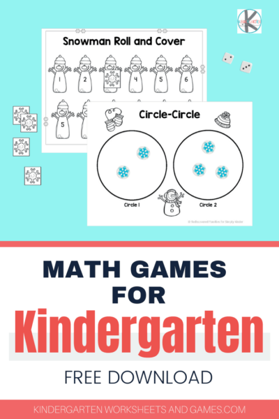FREE Kindergarten Math Games for Winter - several fun printable winter math games and worksheets for kindergartners perfect for making January math fun #wintermath #kindergarten #mathgames