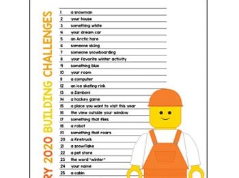 January Lego Challenge - use this free printable january activity calendar to help kids use their imagination and creativity to work on engineering and stem challenges. Perfect for prek, kindergarten, first grade, and more! #lego #stem #january