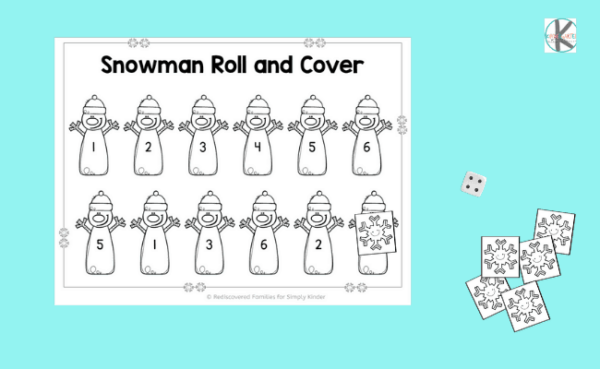 Roll and Cover Snowman Math Game for kindergarteners