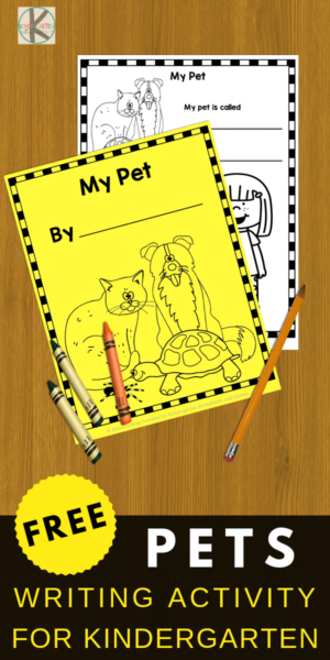 Kindergartners will have fun practicing writing with this super cute book for them to write about their pet. NO PREP, just print FREE creative writing. #pets #writingactivity #writingprompts #kindergarten