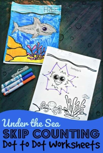 Under the Sea Skip Counting Dot to Dot