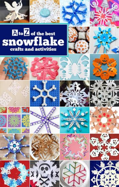 Kids will have fun make tons of super cute Snowflake Crafts - we have a different project (or more) for each letter of the alphabet! #snowflakes #craftsforkids #preschool