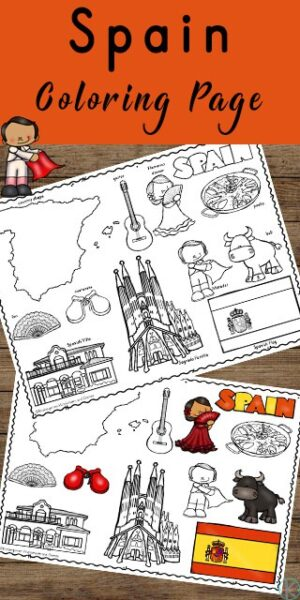 FREE Spain Coloring Pages - kids will have fun learning about and coloring the spanish flag, country, and key things while learning vocabulary #geography #spainforkids #countriesforkids
