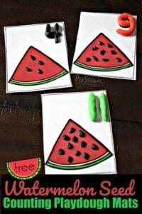 Watermelon Seed Counting Playdough Mats