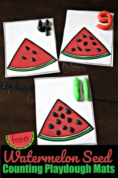 Watermelon Seed Counting Playdough Mats