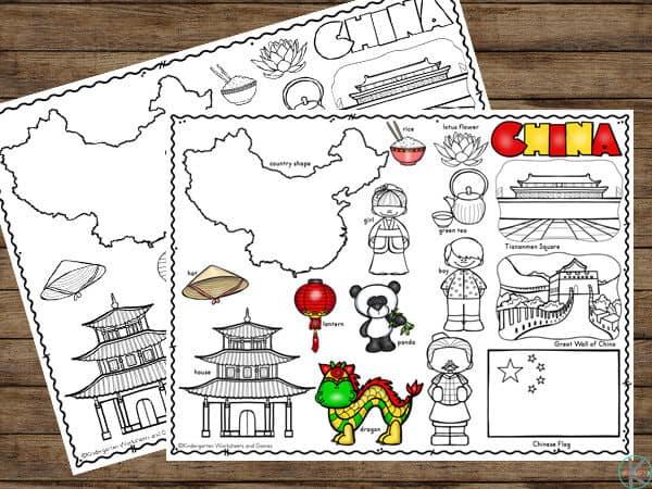 China coloring sheet