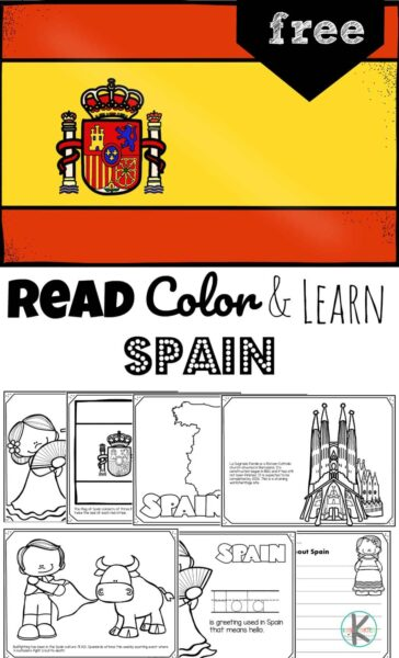 Kids will have fun learning about Spain as they color these super cute, free printable Spain Coloring Pages. These country coloring pages are filled with cute clipart showing map of Spain, Spanish flag, famous food like the paella, famous landmarks like the Sagrada Familia cathedral, and iconic items like castanets, bullfights, flamingo dancers, and more. This  Spain for kids printable is perfect for toddlers, preschoolers, kindergartners, first graders, 2nd graders, 3rd graders, and 4th grade students.