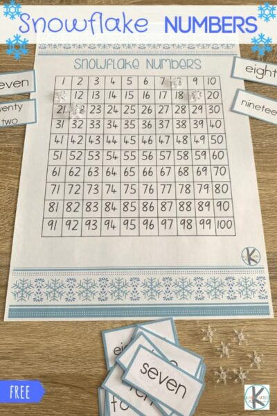 Snowflake Numbers is a fun, FREE math game for kindergarten and 1st grade to practice counting to 100 and learning number words. #hundredschart #kindergarten #kindergartenmath #mathgames #education