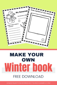 FREE Winter Worksheets for Kindergarten and Preschool students - kids will have fun making their own printable book as they use this writin prompts with space to draw pictures to recall winter activities #winterprintable #winterworksheets #kindergarten #prek