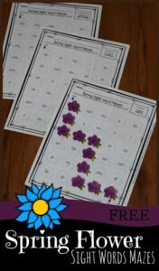 color in the sight word flowers to get through the maze while practicing kindergarten sight words; free sight word worksheets