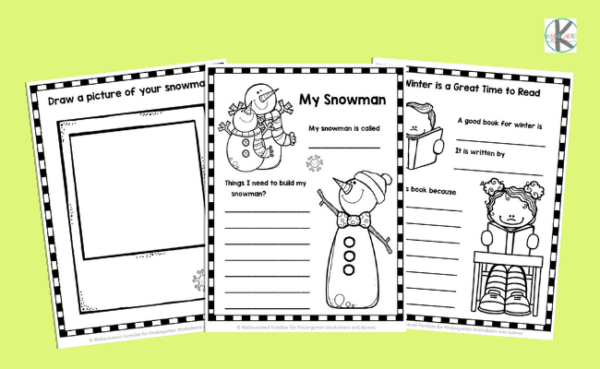 FREE Winter Writing Prompts Worksheets For Kindergarten