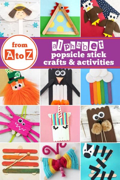 Popsicle Stick Crafts for Kids! Over 125 popsicle stick crafts to go along with any theme, season, or letter of the alphabet from A to Z! Which one will you try first? #craftsforkids #craftstick #popsiclesticks #alphabetcrafts #preschool #kindergarten