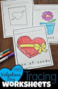 free valentines day tracing pages for toddlers and preschoolers to work on pre writing skills