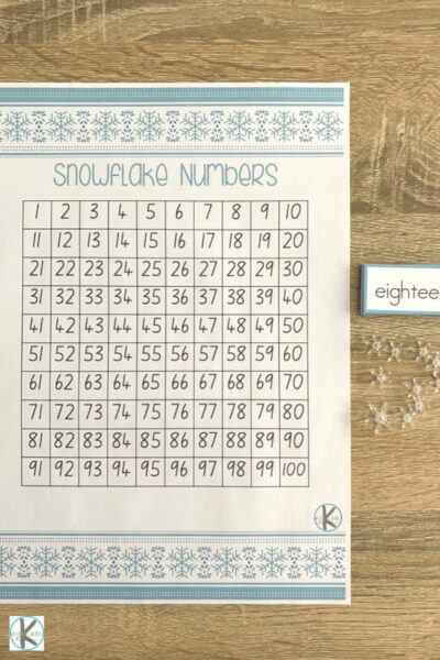 winter themed, free printable hundreds chart printable to help kindergarnters practice number words and counting to 100