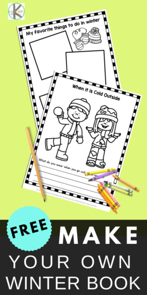 FREE Winter Printables - Preschool & Kindergarten age students will have fun recalling winter fun as they make their own printable book. These winter worksheets contain drawing & writing prompts. #winterprintables #winterworksheets #kindergartners #preschoolers #freeprintables #education