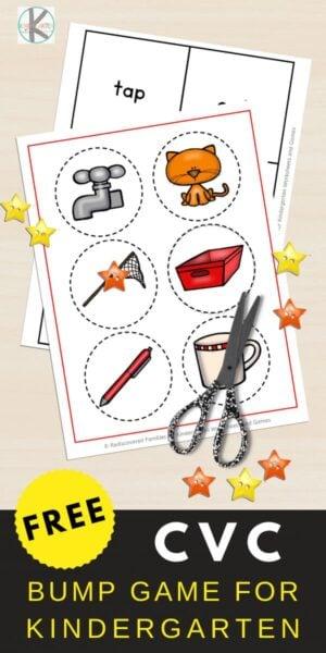 FREE CVC Words Bump Game -fun, hands on liteeracy activity for kindergarten age students #cvcwords #kindergarten #homeschool #bumpgame #education