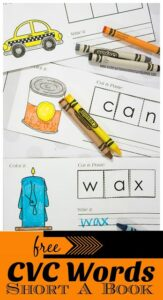 Printable CVC Words Short A book to cut and paste for kindergarten and first graders