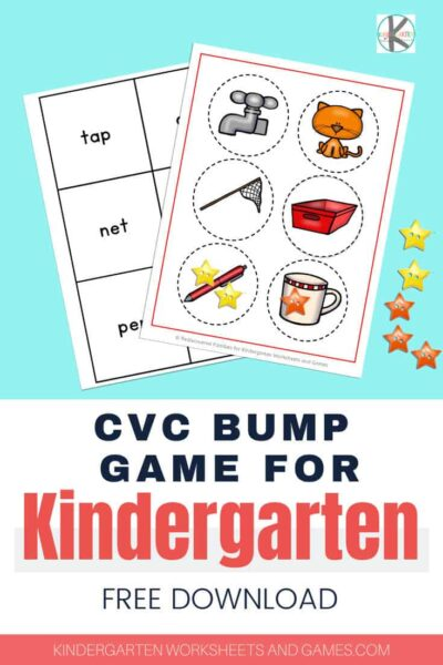FREE CVC Bump Game for Kindergarten - Grab this Free CVC Game kindergarten students will love to practice CVC words. Children will practice sounding out and reading 12 different words. They are perfect for literacy centers and to send home for extra practice.