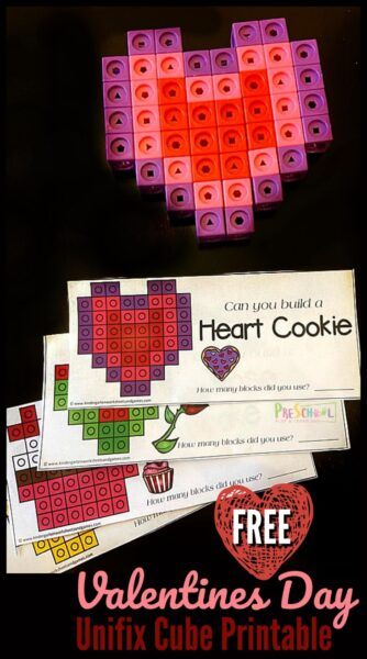 Students will have fun using these free printable unifix snap cubes worksheet for fun, hands on Valentines Day Math! This valentine's day math activities is great for promblem solving and spacial reasoning activity for preschool, pre-k, kindergarten, first grade, and 2nd grade students. Simply download valentines day printable pdf file and you are ready to sneak in some engaging valentines math activities kids will love.