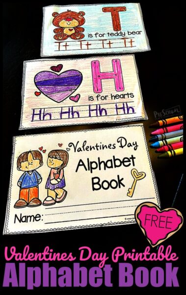 FREE Valentines Day Printable - kids will have fun learning their ABCs while making their very own book where they will learn new vocabulary and trace letters from A to Z. #valentinesday #alphabet #preschool #prek #kindergarten #freeprintables