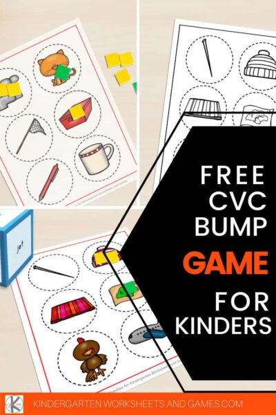 Download this free printable cvc games for kindergarten to practice CVC words with pre k, kindergarten, and first grade students. Children will have fun with this super cute CVC WORDS Bump Game to practice sounding out and reading 12 different words. Use this in your literacy centers or send home for extra practice.