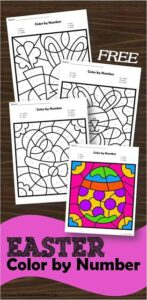 Color by Number Easter Worksheets