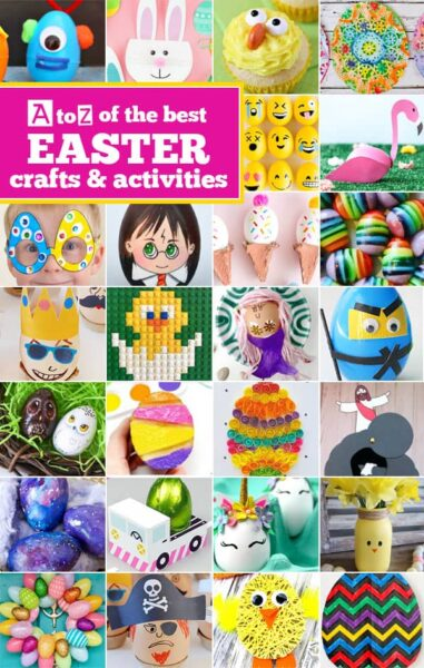 100 EASTER Crafts for Kids from A to Z - lots of fun, cute easter bunny, eggs, basket, chick, cross, and more spring themed crafts and activities for kids of all ages from toddler, preschool, kindergarten, and elementary age kids. These easter activiites are sure to be a hit during the month of april #eastercrafts #craftsforkids #easteractivities #preschool