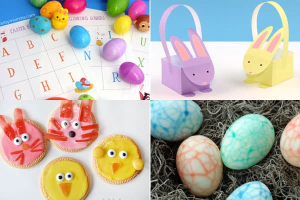 easter egg, easter basket, easter bunnies, easter chicks, and other easter crafts for kids