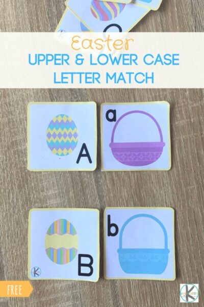 Kids will have fun practicing matching upper and lowercase letters with this fun, hands-on and free printable Easter Alphabet Game with prek and kindergarten age students. #alphabet #easter #preschool #prek #kindergarten