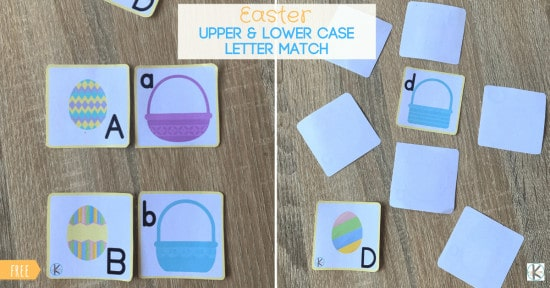 Egg basket and super cute alphabet easter eggs in free easter printable to practice capital and lowercase letter matching with preschoolers and kindergarteners