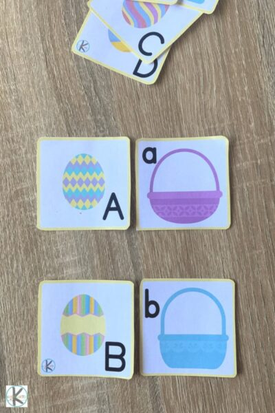 free alphabet game for preschoolers, prek, and kindergartners to play in the spring, easter, and April