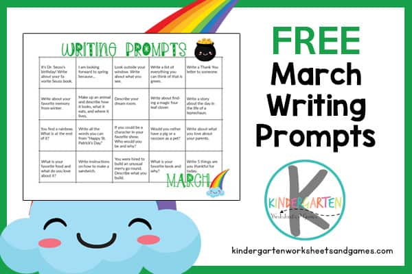 printable calendar filled with writing promtps for kids for each school day of the month