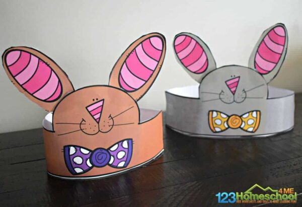 printable bunny ears hat for spring or easter crafts for kids