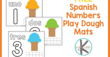 fun, hands on activity for teaching spanish for kindergarten using playdoug mats. Count to 10 in spanish