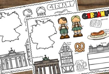 free printable Country Coloring Page for pre k, kindergarten, 1st grade, and 2nd grade students to learn about germany